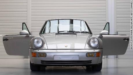 Maradona's Porsche is displayed in Vichte, België, last month before being put up for auction.