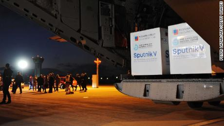 A shipment of Russia's Sputnik V vaccine sits on the tarmac at an airport in Slovakia on March 1.