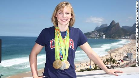 Katie Ledecky poses with her Olympic medals in Rio.