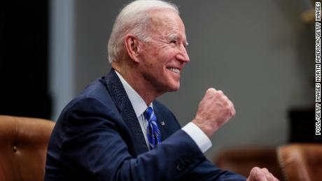 WASHINGTON, DC - MARCH 04: US President Joe Biden gestures as he speaks during a virtual call to congratulate the NASA JPL Perseverance team on the successful Mars Landing in the Roosevelt Room of the White House on March 4, 2021 in Washington, DC. (Photo by Oliver Contreras-Pool/Getty Images)