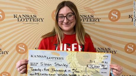 A teen won $25,000 on her very first lottery ticket