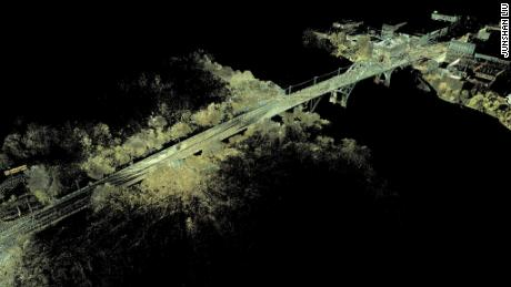 """The 3D scans provide hundreds of millions of data points for the bridge, topography, buildings and even trees, which researchers use to generate a """"point cloud"""" documenting the existing condition of the site and allowing researchers to take measurements without traveling back to Selma."""