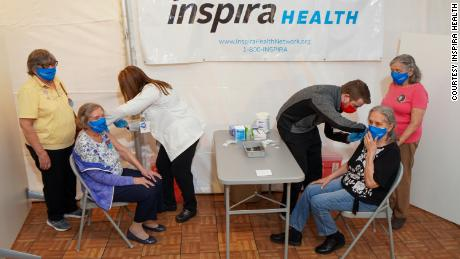 Van links, Rose Ramsey, Edith Camp, Nora McDonald, and Bernice Cecil receive the second dose of the Pfizer/BioNTech Covid-19 vaccine at Inspira Medical Center Mullica Hill.