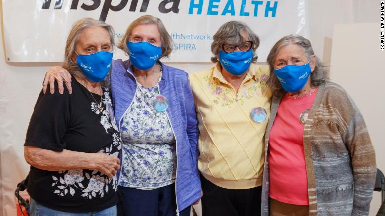 Four sisters in their 80s and 90s reunited to get their Covid-19 vaccines together