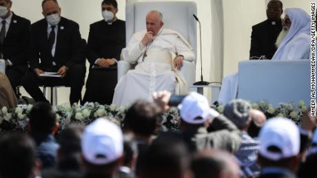Pope Francis attends an inter-religious meeting in the Sumerian city-state of Ur.