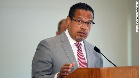 Minnesota Attorney General Keith Ellison announces charges against former Minneapolis police officers on June 3, 2020 in St Paul, Minnesota.
