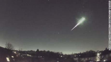 The meteorite produced a fireball in the night sky as it entered Earth's atmosphere.