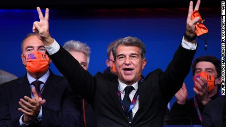 Joan Laporta celebrates during a press conference after being elected Barcelona president.