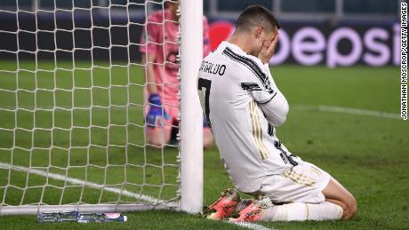 Ronaldo reacts after missing a chance against Porto.