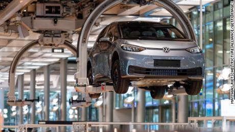 An ID.3 floats along the assembly line at a Volkswagen plant in Germany.