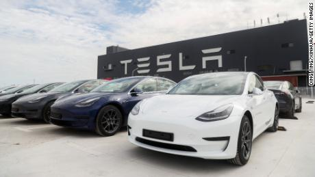 Model 3 vehicles at Tesla's gigafactory in Shanghai.