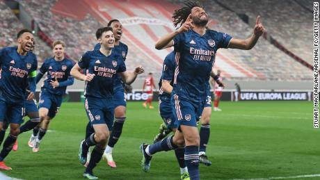 Elneny celebrates scoring the third Arsenal goal against Olympiacos.