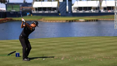 Na plays his shot from the 17th tee during the first round of THE PLAYERS Championship.