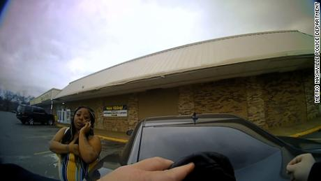 An image of bodycam footage released by MNPD shows the traffic stop moments before gunfire erupted
