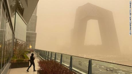 Buildings in the central business district of Beijing during a sandstorm on March 15.