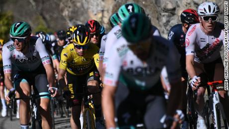 Team Jumbo rider Roglic competes during the eighth stage Paris - Nice race.