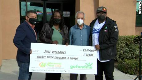 Villarruel was surprised with a check for $  27,000 on his 77th birthday.