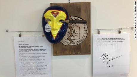 A mask Marc Polymeropoulos made with a poem during a therapy program.