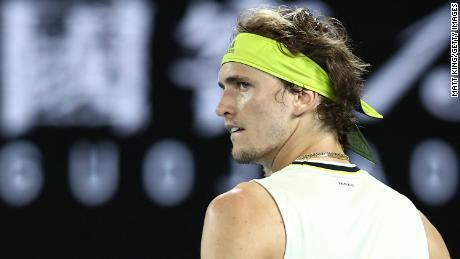Alexander Zverev in his match against Novak Djokovic at the Australian Open in 2021.