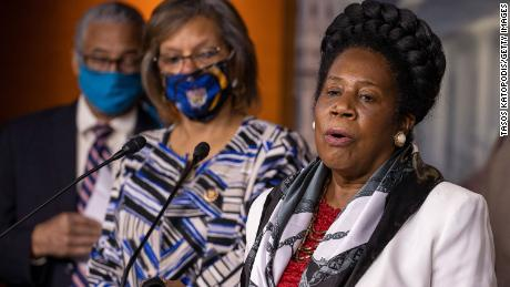 US Rep. Sheila Jackson Lee speaks at a Congressional Black Caucus press conference on Capitol Hill last summer.