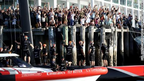 Team New Zealand was applauded by fans following its  America's Cup win.