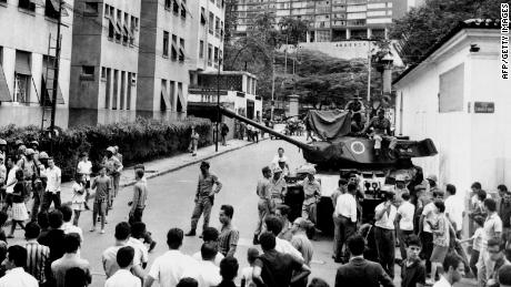 Brazilian army tanks in front of Laranjeiras Palace in Rio de Janeiro, 1964, as the Brazilian Armed Forces took control of the country.