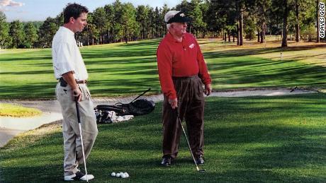 Graves watching Norman in Pine Needles, South Carolina, 1998.