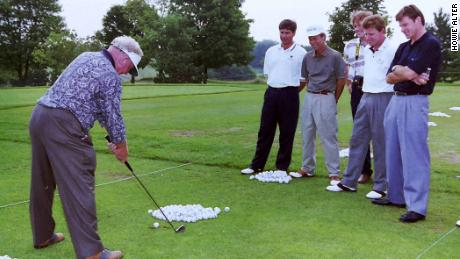 Norman with tour players, at the Telus Skins Game at the National Golf Club of Canada in 1995.
