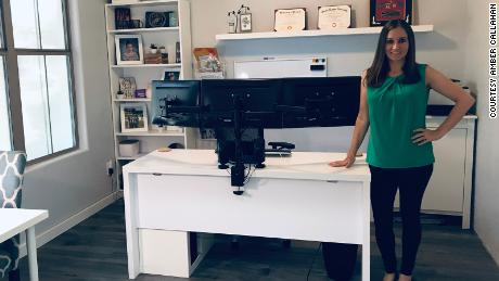 Amber Callahan converted a room in her house to make space for an office.