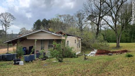 A roof of a home in northeast Lincoln County, Miss., is suspected of having been torn off by a tornado on March 17, 2021.