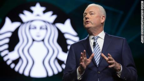 Starbucks President and CEO Kevin Johnson at the company's annual shareholder meeting  Seattle, Washington on March 20, 2019.