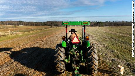Fourth generation crop farmer John Boyd, president of the Black Farmer's Association, plants winter wheat in one of his fields in Baskerville, Virginia on Tuesday January 8, 2019.