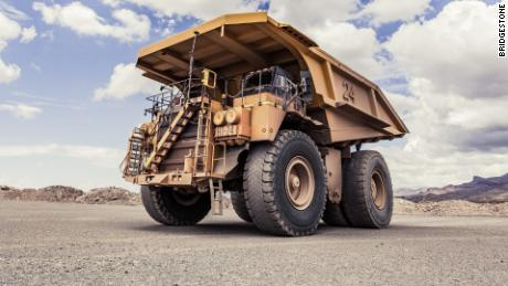 Mining trucks like these have sensors inside their huge tires that share information about their condition.