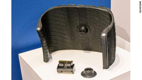 A section of a Goodyear tire showing the sensor.