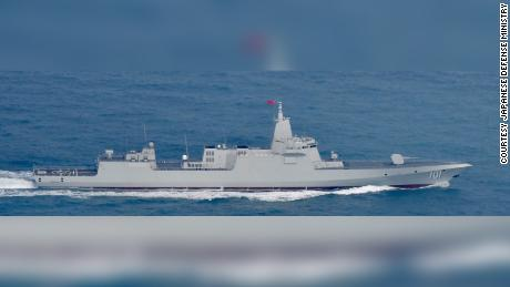 The Chinese People's LIberation Army Navy destroyer Nanchang is seen in a photo provided by Japan's Defense Ministry.