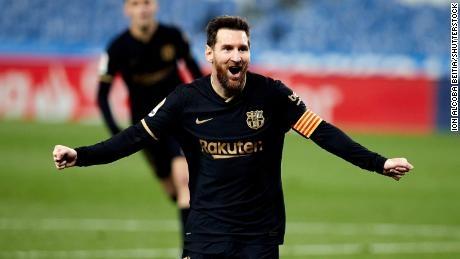 Messi celebrates after scoring against Real Sociedad.
