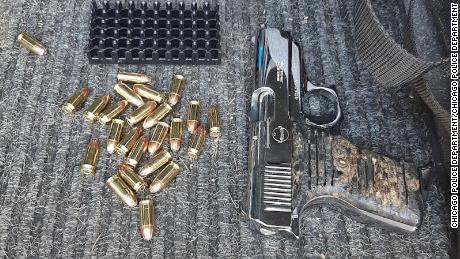 Police said this image shows the suspect's gun that was recovered during his arrest.