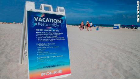 Miami Beach has placed signs on the shore urging tourists to  vacation responsibly.