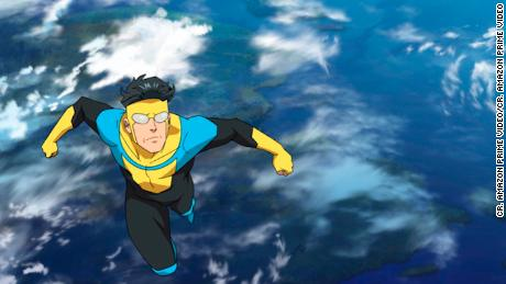 "Mark Grayson, voiced by Steven Yeun, is the son of the most powerful superhero on the planet in ""Invincible.&인용;"