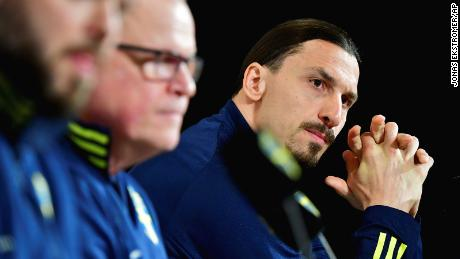Ibrahimovic attends a press conference.