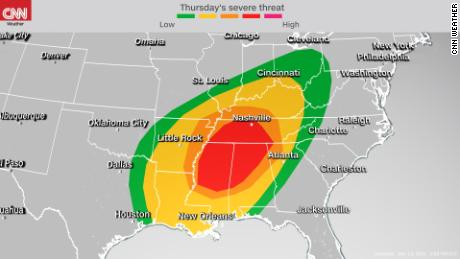 Storm Prediction Center's severe weather outlook for Thursday into Thursday night