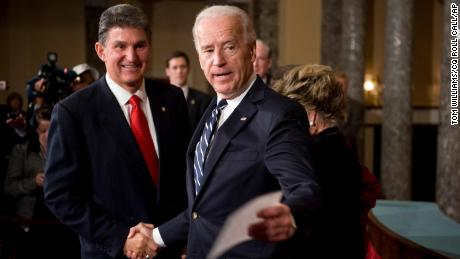 이것의. 조 만친, D-W.V., talks with then Vice President Joe Biden who conducted a mock swearing in ceremony in the Old Senate Chamber.