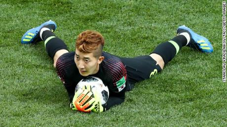 Jo Hyun-woo makes a save in the 2018 FIFA World Cup match against Sweden.