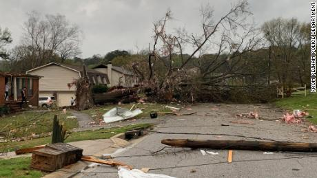 More tornado damage is seen in this photo from Pelham, Alabama, police, on March 25, 2021.