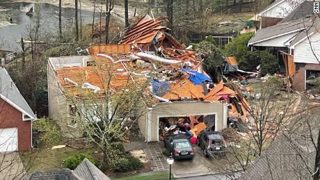 Tornado damage in the Eagle Point community near Birmingham, Alabama, on March 25, 2021.