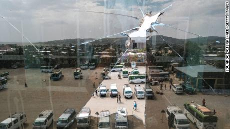 A view of the bus station in Wukro, Tigray, on March 1, 2021.