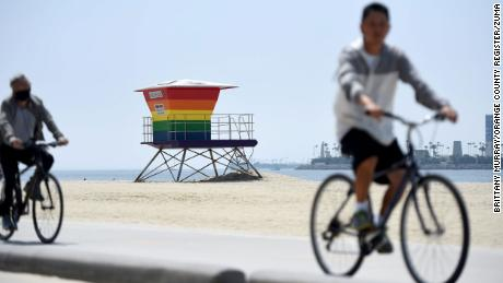 The lifeguard tower was painted in the rainbow colors in June 2020 to honor the 50th anniversary of the first Pride march held in New York City on June 28, 1970.