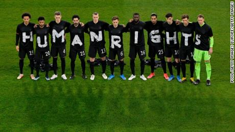 Germany players protest against the 2022 World Cup to be held in Qatar before a qualifying match.