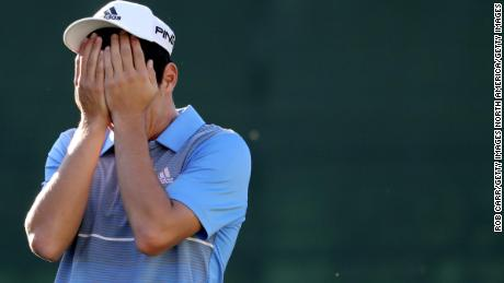 Niemann reacts after winning the Greenbrier Classic, his first PGA Tour victory.