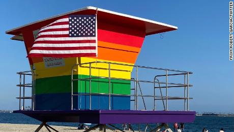 Long Beach Marine Safety Division painted LGBTQ Pride tower in June 2020.